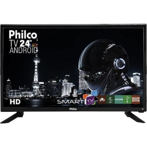 Smart TV LED 24'' Philco PTV24N91SA HD com Conversor Digital 1 HDMI 1 USB Wi-Fi Closed Caption 60Hz Android - Preto