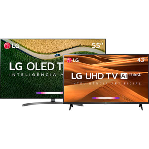 "Smart TV OLED 55"" LG OLED55B9 4 HDMI 3 USB Wi-Fi + Smart TV LED 43'' LG 43UM7300 4K 3 HDMI 2 USB Wi-Fi"