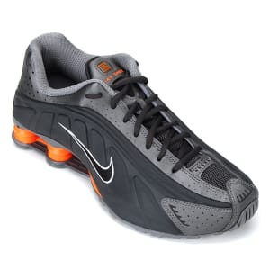 Tênis Nike Shox R4 Masculino - Cinza e LaranjaTênis Nike Shox R4 Masculino - Cinza e Laranja