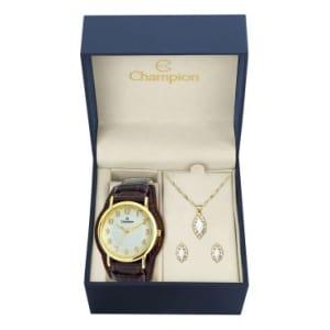 Kit Relógio Analógico Social Champion CN20275W, Analógico, Pulseira de Couro, caixa de 3,7, resistente à àgua WR 50Mcódigo do produto: 1108195