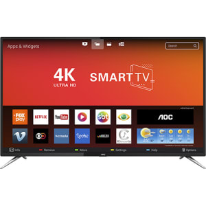 "Smart TV LED 55"" AOC LE55U7970S UHD 4K 4 HDMI 2 USB Preta com Conversor Digital"