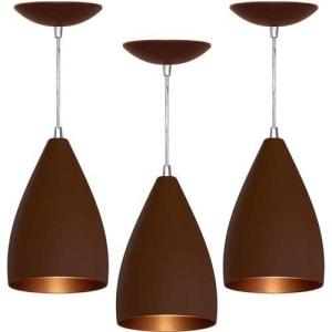 Kit 3 Lustre Pendente Vegas (café Textura / Bronze)