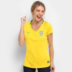Camisa Seleção Brasil I 2018 s n° - Torcedor Estádio Nike Feminina - Amarelo  e Verde c795a5d15cab2