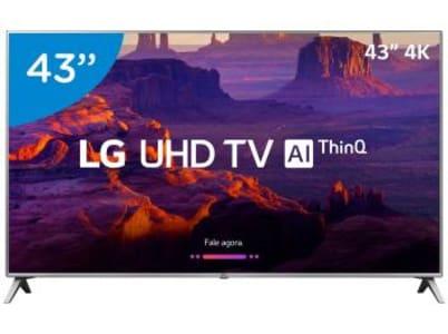 "Smart TV LED 43"" LG 4K/Ultra HD 43UK6520PSA - WebOs Conversor Digital Wi-Fi 4 HDMI 2 USB - Magazine Ofertaesperta"