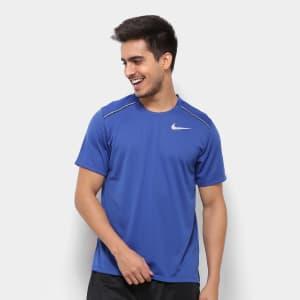 Camiseta Nike DRI-FIT Miler Masculina - Azul e Prata