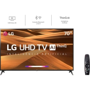 Smart TV LED 70'' LG 70UM7370 Ultra HD Thinq AI Conversor Digital Integrado 3 HDMI 2 USB Wi-Fi