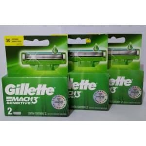 Kit carga Gillette Mach 3 sensitive, com 3 caixas contendo 2 cartuchos cada.