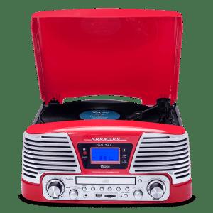 Vitrola Raveo Harmony com Bluetooth, Toca Discos, CD Player, entrada USB Vermelho Bivolt