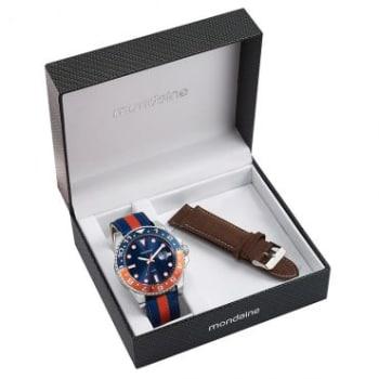 Relógio Masculino Mondaine, Analógico, Pulseira de 1- Couro 1-Naylon, Caixa de 5,2 cm, Resistente à Água 10 ATM - 94785G0MVNJ4