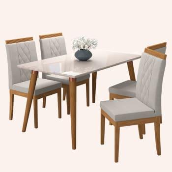 Conjunto de Mesa para Sala de Jantar Adele com 4 Cadeiras Vanessa-Cimol - Madeira / Offwhite / Aspen