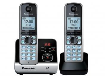 Telefone Sem Fio Panasonic KX-TG6722LBB + 1 Ramal - Identificador de Chamada Viva Voz Preto e Prata