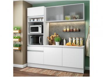 Cozinha Compacta Madesa Ametista G20086 com Balcão - Nicho para Forno ou Micro-ondas 6 Portas 1 Gaveta - Magazine Ofertaesperta