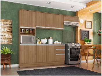 [3 cores] Cozinha Completa Poliman Móveis Paris - com Balcão Nicho para Forno ou Micro-ondas