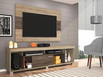 """[2 cores]  Rack para TV até 50"""" com Painel Tomaz - 1 Porta de Correr - Madetec"""