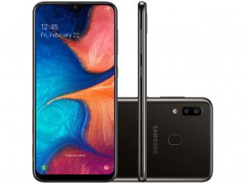 "[Preto ou azul] Smartphone Samsung Galaxy A20 32GB Preto 4G - 3GB RAM 6,4"" Câm. Dupla + Câm. Selfie 8MP"
