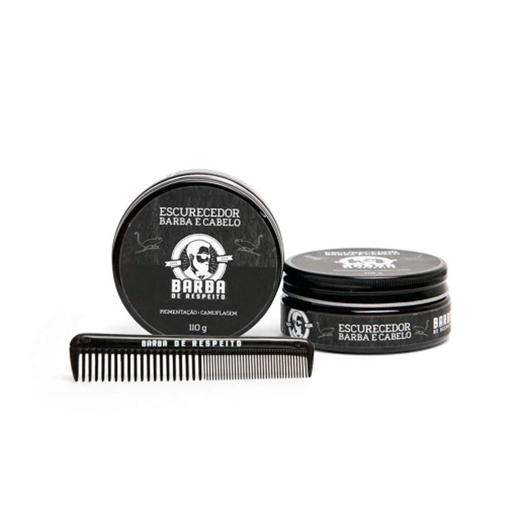 Escurecedor de Barba e Cabelo - 110g + Pente Fino