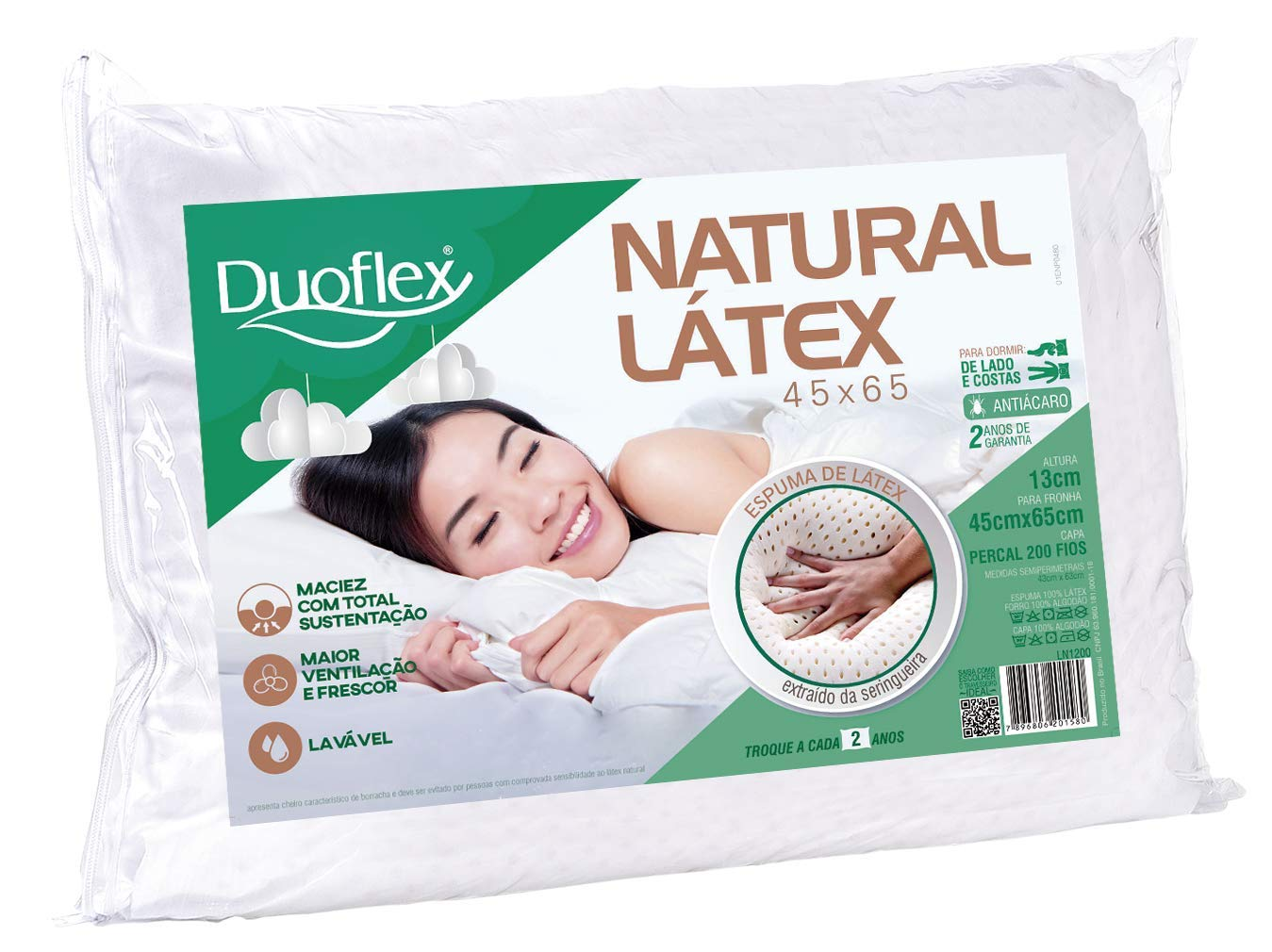 Travesseiro Natural Látex Duoflex 100% Algodão 45Cmx65Cm