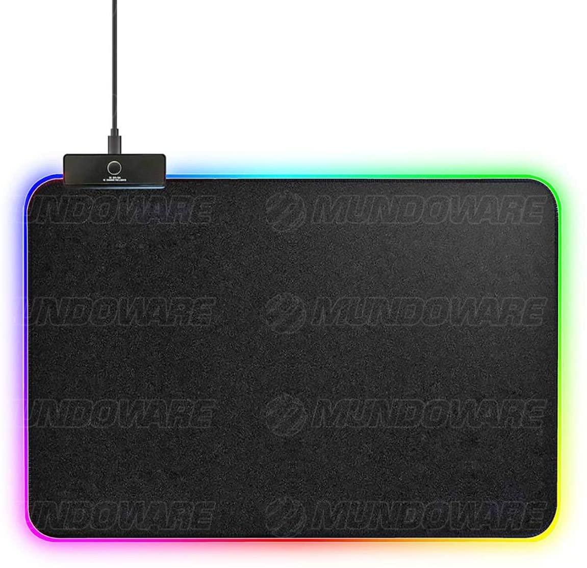 Mouse Pad Gamer com Borda de LED 350x250x3mm 14 Modos Espectro Backlighting em 7 Cores USB Power MS-WT-5