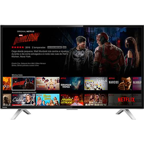 "Smart TV LED 40"" Toshiba 40L2600 Full HD com Conversor Digital 3 HDMI 2 USB Wi-Fi 60Hz - Preta"