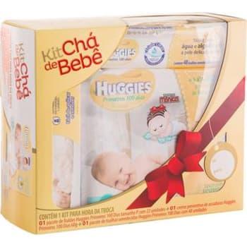 Kit Presente com Fralda, Creme contra Assaduras e Toalhas Umedecidas Chá de Bebê Huggies