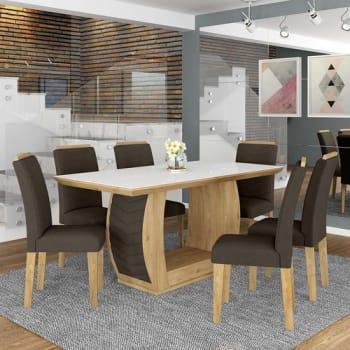 Conjunto Sala De Jantar 6 Cadeiras Líbano Cinamomo - Móveis Arapongas