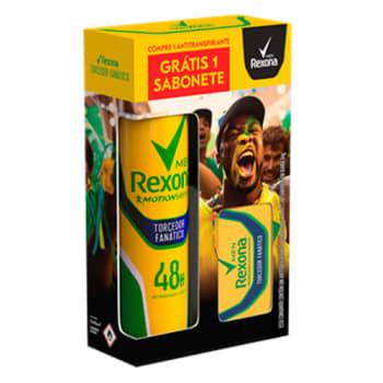 Kit Desodorante Rexona Men Torcedor Fanático 150ml Grátis Sabonete em Barra 84g