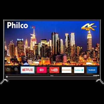 """Smart TV LED 55"""" Philco PTV55G50SN Ultra HD 4k com Conversor Digital 3 HDMI 2 USB Wi-Fi Soundbar Embutido 60Hz Preta"""