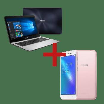 Notebook X556UR-XX477T Azul Escuro + Zenfone Live Rosa