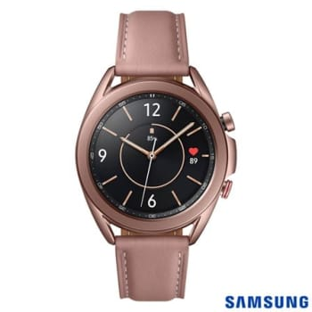"""Galaxy Watch3 41mm Samsung Bronze com 1,4"""", Pulseira de Couro, Bluetooth, LTE e 8GB"""