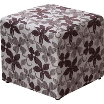 Puff Decorativo American Comfort em Chenille Floral Marrom
