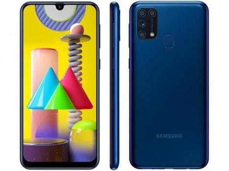 "Smartphone Samsung Galaxy M31 128GB Azul 4G - 6GB RAM Tela 6,4"" Câm. Quádrupla + Selfie 32MP - Magazine Ofertaesperta"