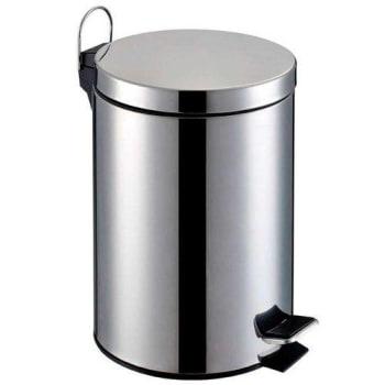 Lixeira de Aço Inox Redonda 12 Litros - Prata com balde interno e pedal - Home Garden