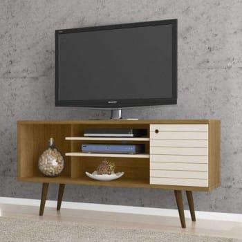 Rack para TV até 55 Polegadas 1 Porta Safira Móveis Bechara Cinamomo/Off White