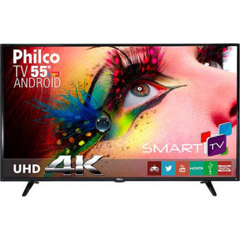 "Smart TV LED 55"" Philco PH55E61DSGWA Ultra HD 4k com Conversor Digital 3 HDMI 2 USB Wi-Fi Closed Caption 60Hz Preta"