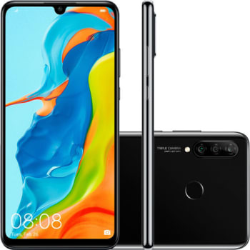 "Smartphone Huawei P30 Lite Android 9.0 6.15"" Octacore 128GB 4G 24MP+8MP+2MP Dual Chip - Preto"