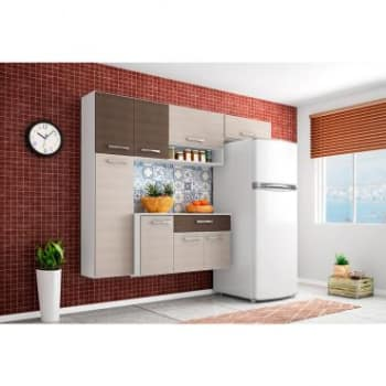 Cozinha Completa Poquema Anita 5 Portas com Nicho Para Tempero + Balcão Anita 3 Portas e 1 Gaveta com Tampo - Amêndoa e Capuccino