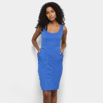 Vestido Forwhy Tubinho Curto Detalhe Listra - AzulVestido Forwhy Tubinho Curto Detalhe Listra - Azul
