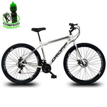 [6 cores] Bicicleta Aro 29 DROPP AÇO 21v Marchas com Freio a Disco Mecânico Branco com Preto
