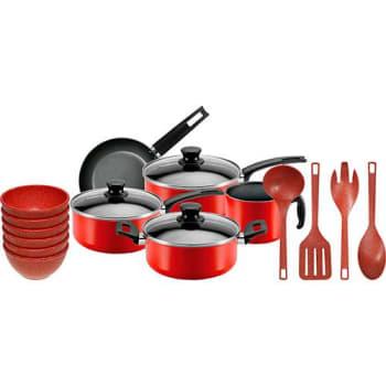 Jogo de Panelas 5 peças Antiaderente Vermelha + Kit Tigelas 6 Peças Vermelho + Utensílios 4 Peças Vermelho