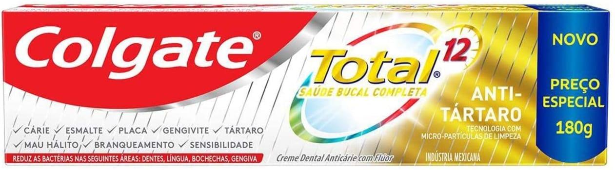 2 Unidades de Creme Dental Colgate Total 12 Anti Tártaro 180g cada