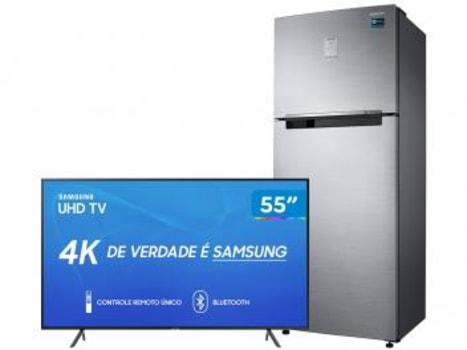 "Smart TV 4K LED 55"" Samsung UN55RU7100GXZD - Wi-Fi + Refrigerador Frost Free Duplex 110V 110V"