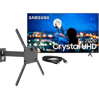 """Samsung Smart TV 43'' Crystal UHD 43TU7000 4K 2020 + Suporte Biarticulado Com Inclinacao Para Tv De 14"""" A 56"""" - Preto - M2 + Cabo HDMI 1.4, High speed"""