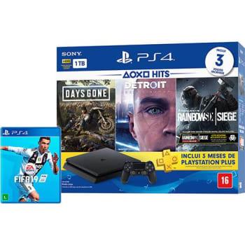 Console Playstation 4 Slim 1TB Hits Bundle 5 + Controle Dualchock 4 + Jogo FIFA 19 - PS4