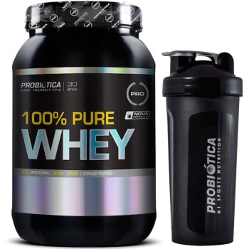 Whey Protein 100% Pure Whey 900g + Coqueteleira 600ml Probiótica