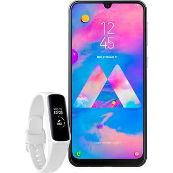 Smartphone Samsung Galaxy M30 - Preto + Galaxy Fit E - Branco