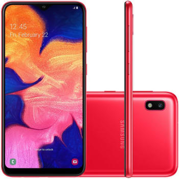 """Smartphone Samsung Galaxy A10 32GB 6.2"""" 2GB RAM Câmera Traseira 13MP Vermelho"""