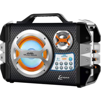 (APP) Caixa Amplificada Lenoxx Music Wave com Bluetooth Bateria Interna Micro SD Karaokê USB E 50w