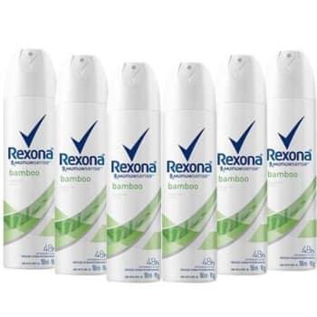 Kit com 6 Desodorantes Antitranspirantes Aerossol Feminino Rexona Bamboo Com 150ml cada