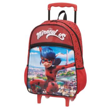 Mochila Escolar com Rodinhas Pacific Miraculous 966U01 Vermelha