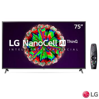 """Smart TV NanoCell 4K LG LED 75"""" com ThinQAI Google Assistente e Wi-Fi - 75NANO79SNA"""
